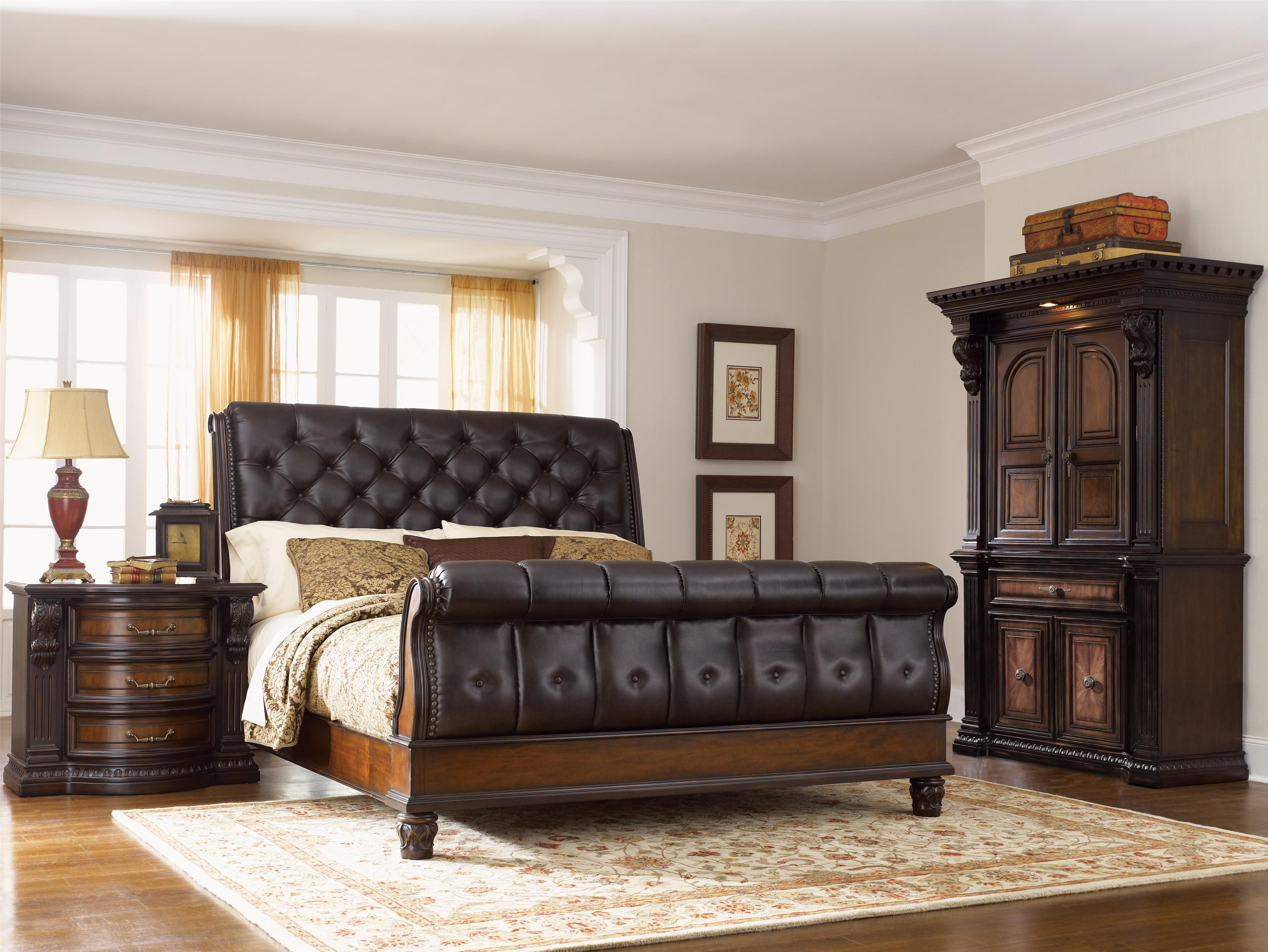 Fairmont Designs Grand Estates California King Sleigh Bed W Leather Upholstery Michael S Furniture Warehouse Sleigh Beds