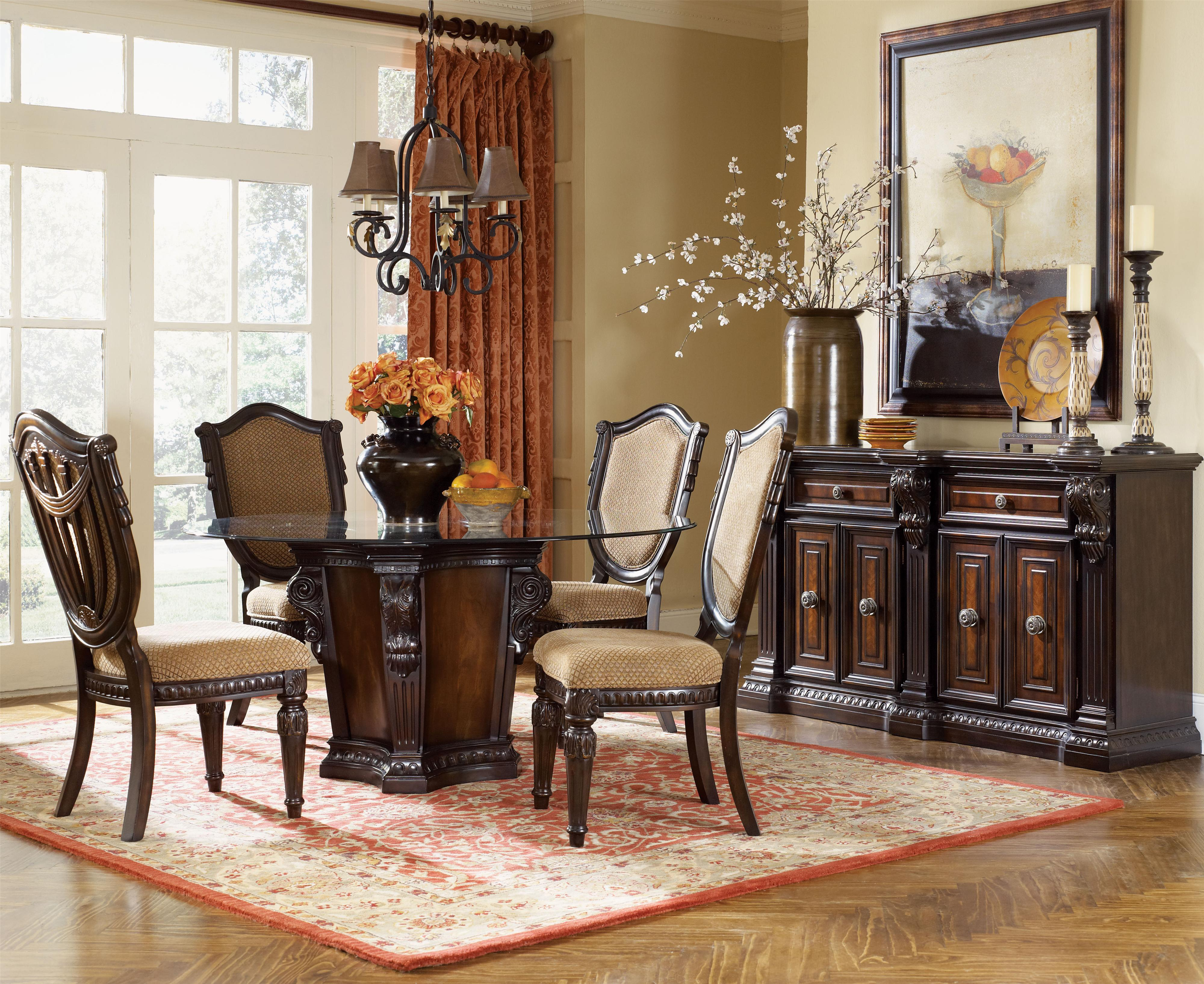 Traditional Wood Dining Tables fairmont designs grand estates pedestal glass dinner table - dream