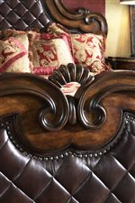 Carved Wood, Quilted Leather, and Nailhead Trim