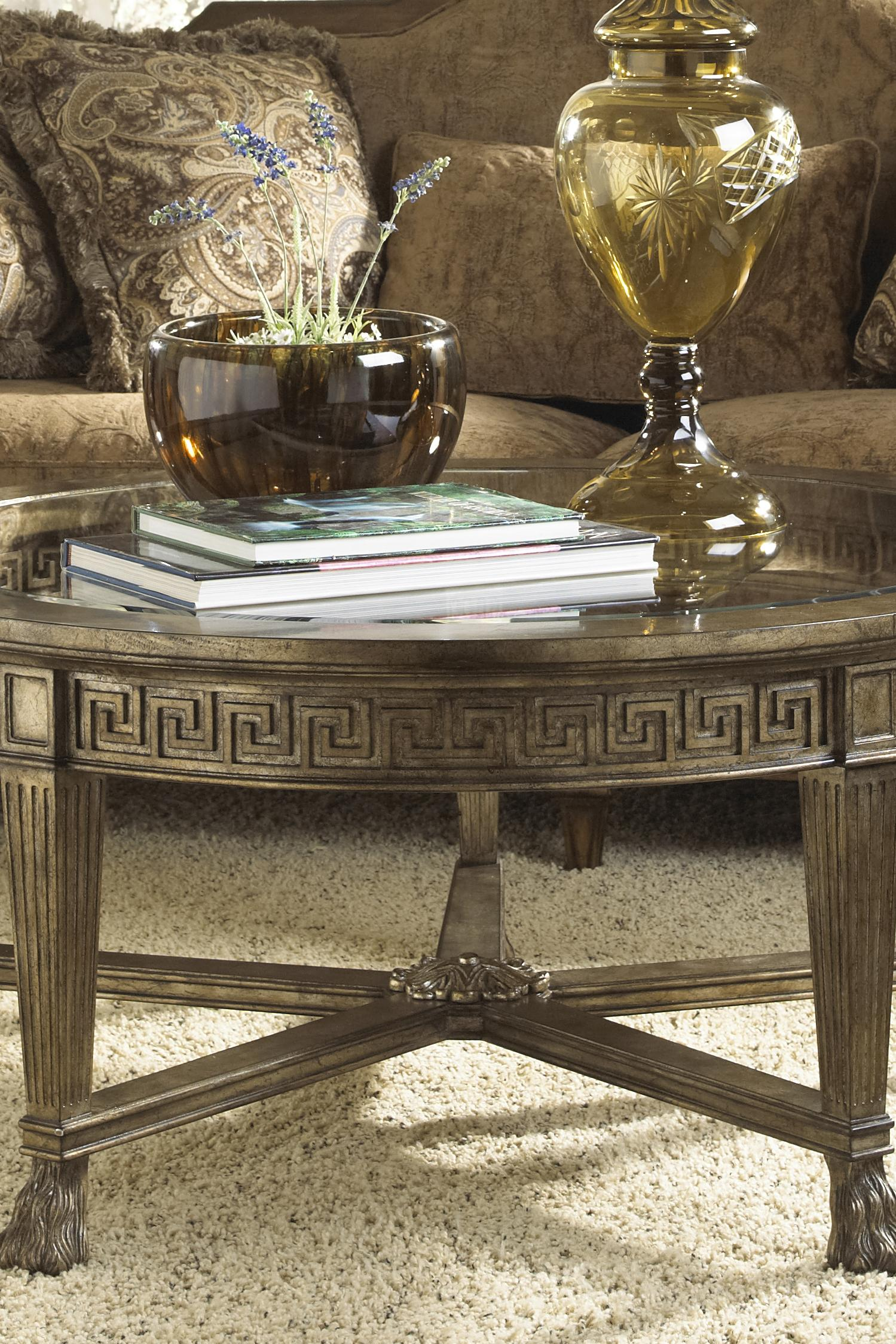 Charming Fine Furniture Design Belvedere Grecian Style Round Coffee Table With Glass  Top   Design Interiors   Cocktail/Coffee Tables
