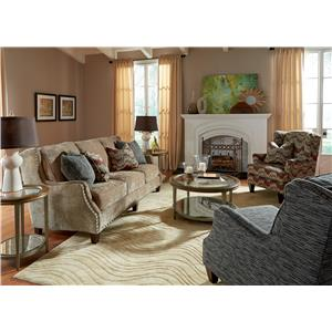 Flexsteel Conrad Transitional Chair and Ottoman Set with Oversized Nailheads