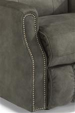 Shown in Fabric with Nailhead Trim. Also Available in Leather or Performance Fabric and without Nailhead Trim.