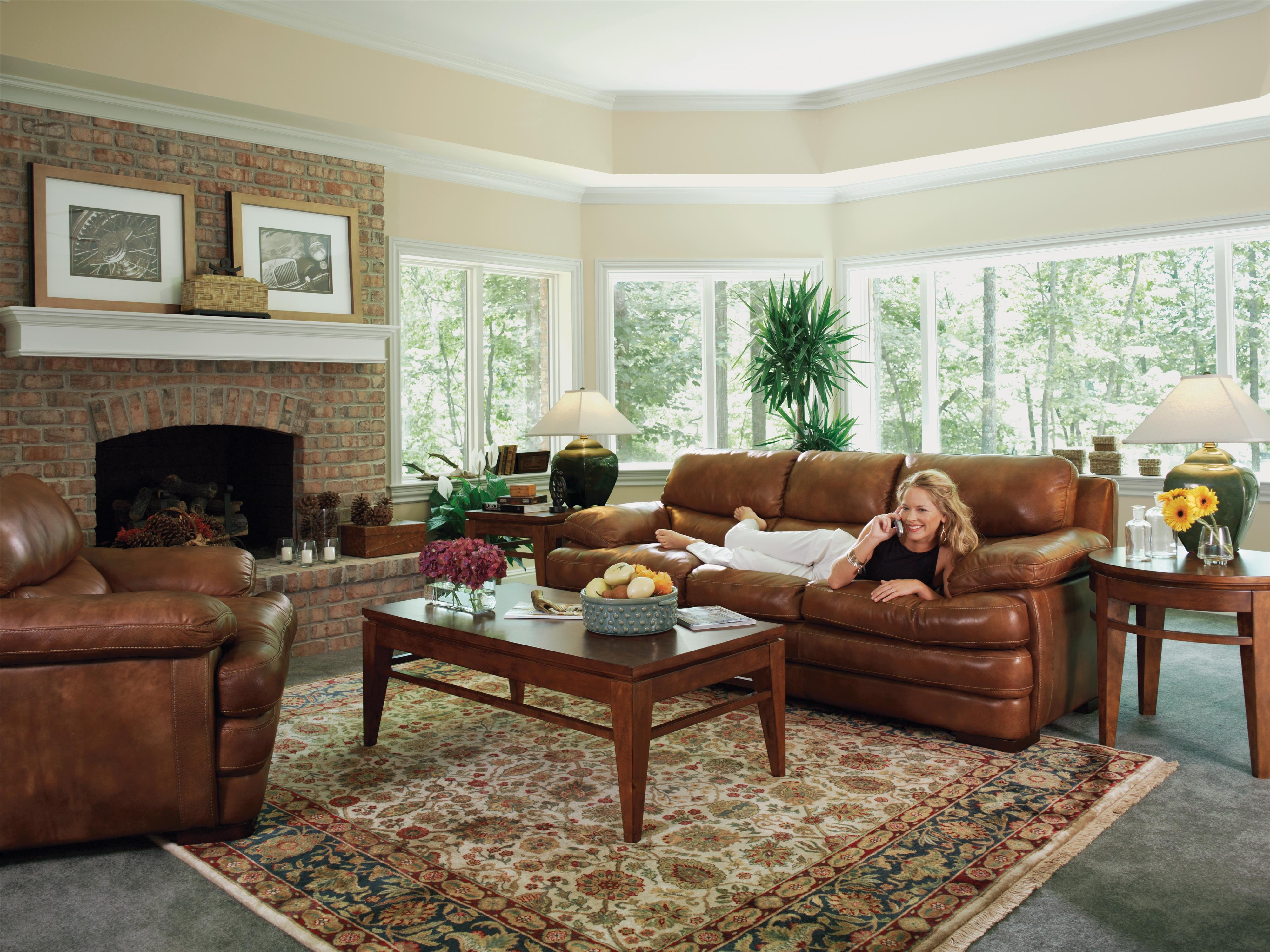 Flexsteel Latitudes Dylan Leather Stationary Sofa Rooms and