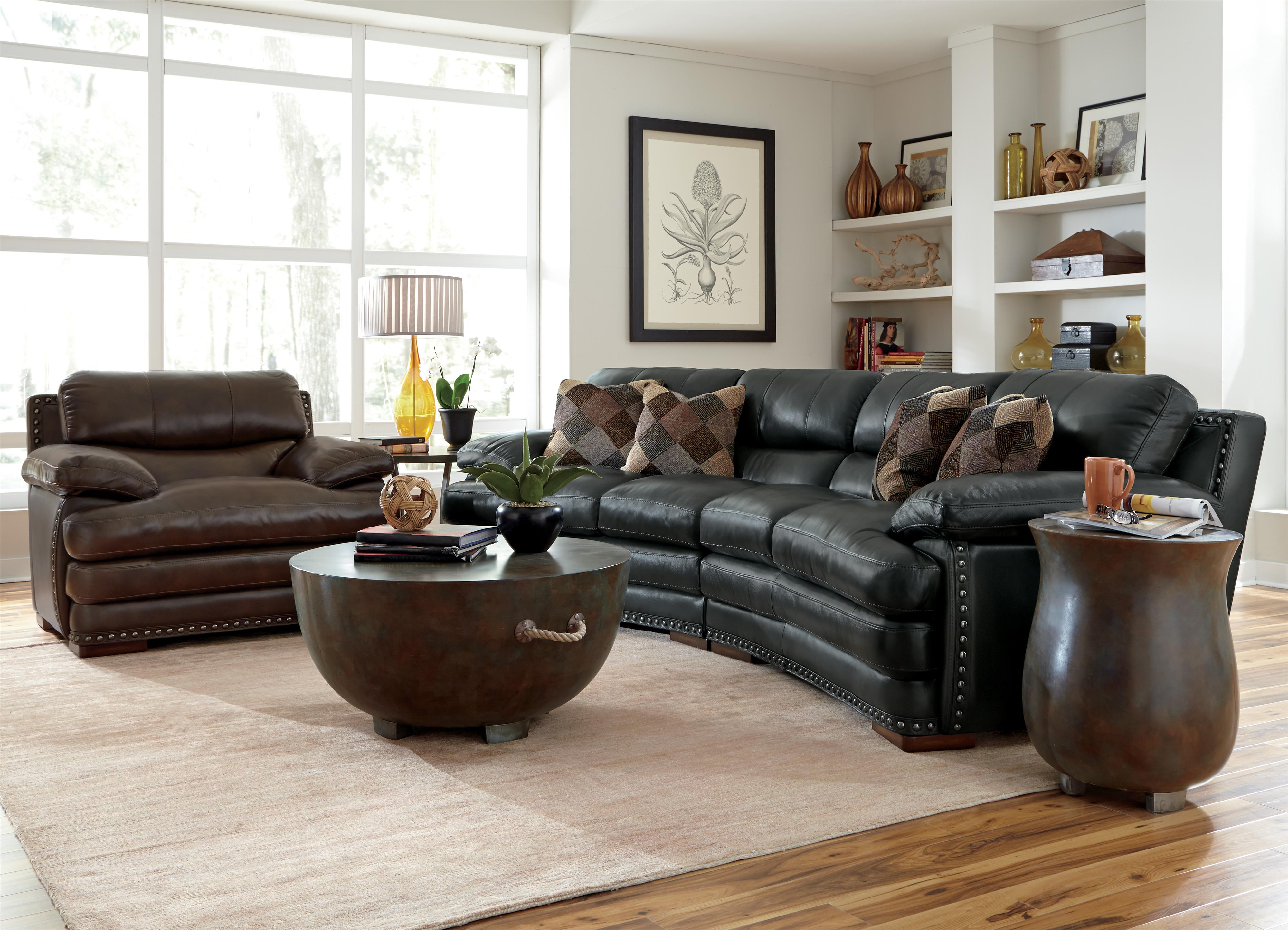 Flexsteel Latitudes - Dylan Leather Conversation Sofa with Nailhead Trim - Wayside Furniture - Conversation Sofas & Flexsteel Latitudes - Dylan Leather Conversation Sofa with ... islam-shia.org