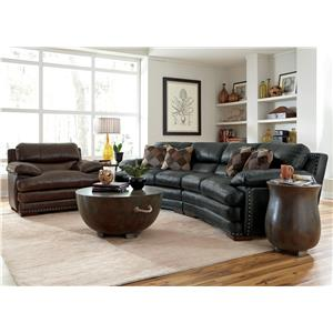 Flexsteel Latitudes - Dylan Leather Conversation Sofa with Nailhead Trim