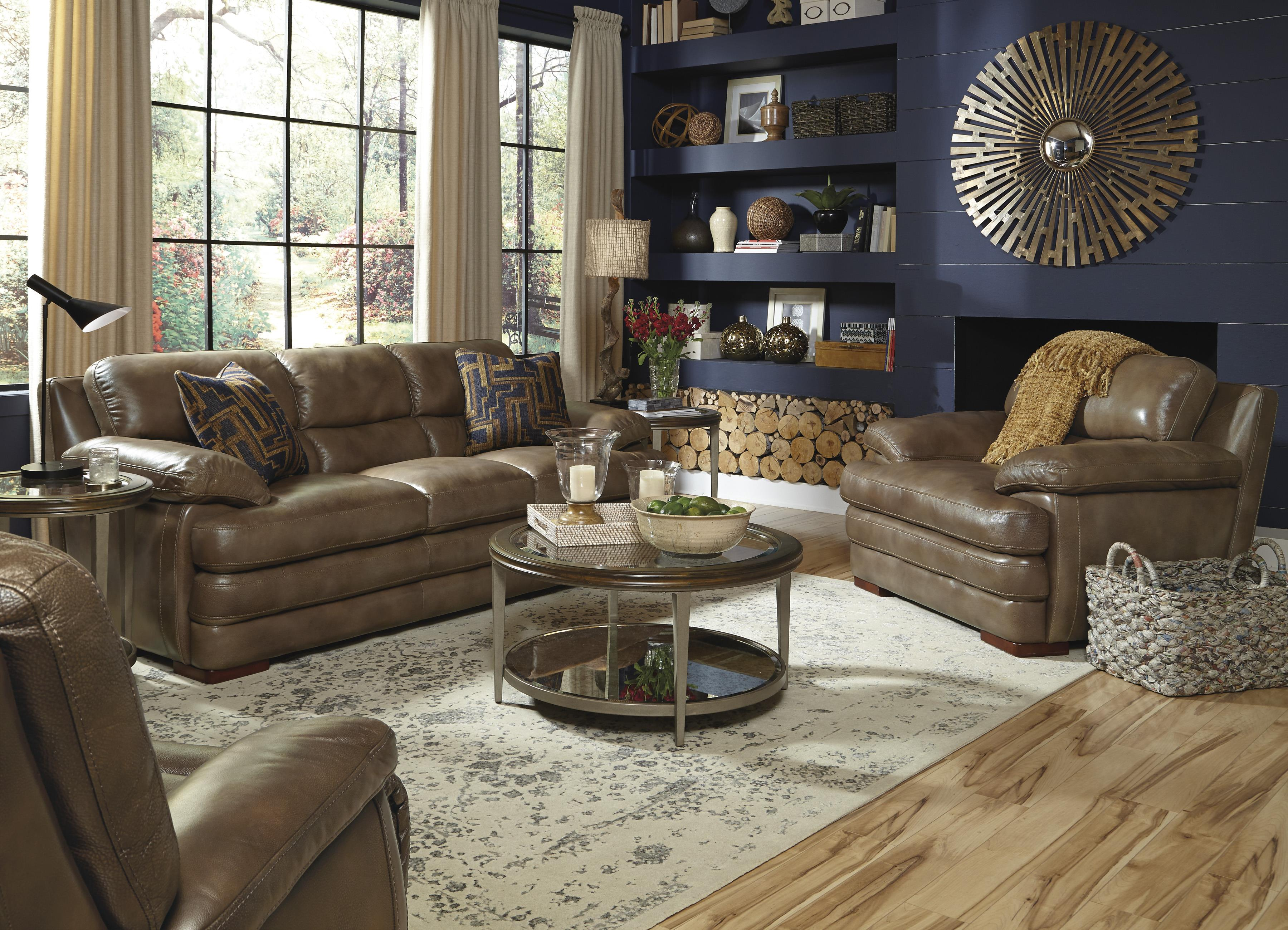 Flexsteel Latitudes Dylan Leather Stationary Sofa Wayside