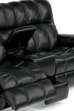 Console Loveseat Includes Light-Up Cupholders and Two Compartments for Hidden Storage