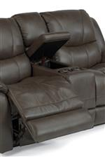 Console Loveseat Includes a Storage Compartment and Cupholders with Movie Theater Lighting