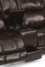 Reclining Console Loveseat Includes Hidden Storage and Cupholders- The Power Version Even Includes Cupholder Lights!