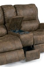 Loveseat Offers a Built-In Storage and Cupholder Console, with Lift-Top Compartment for Remote Control Storage