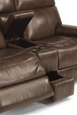 Loveseat Comes Equipped with a Storage and Cupholder Console