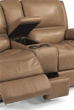 Console Loveseat Includes Hidden Storage and Two Light-Up Cupholders