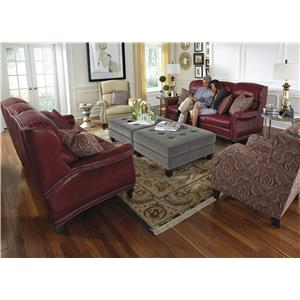 Flexsteel Latitudes-Sting Ray Transitional Ottoman with Nailheads