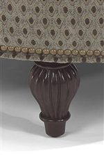 Fluted Exposed Wood Leg and Decorative Nail Head Trim.