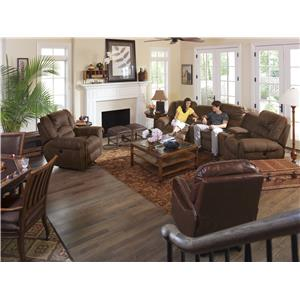 Flexsteel Latitudes - New Town Three Piece Reclining Sectional Sofa with Nailhead Studs