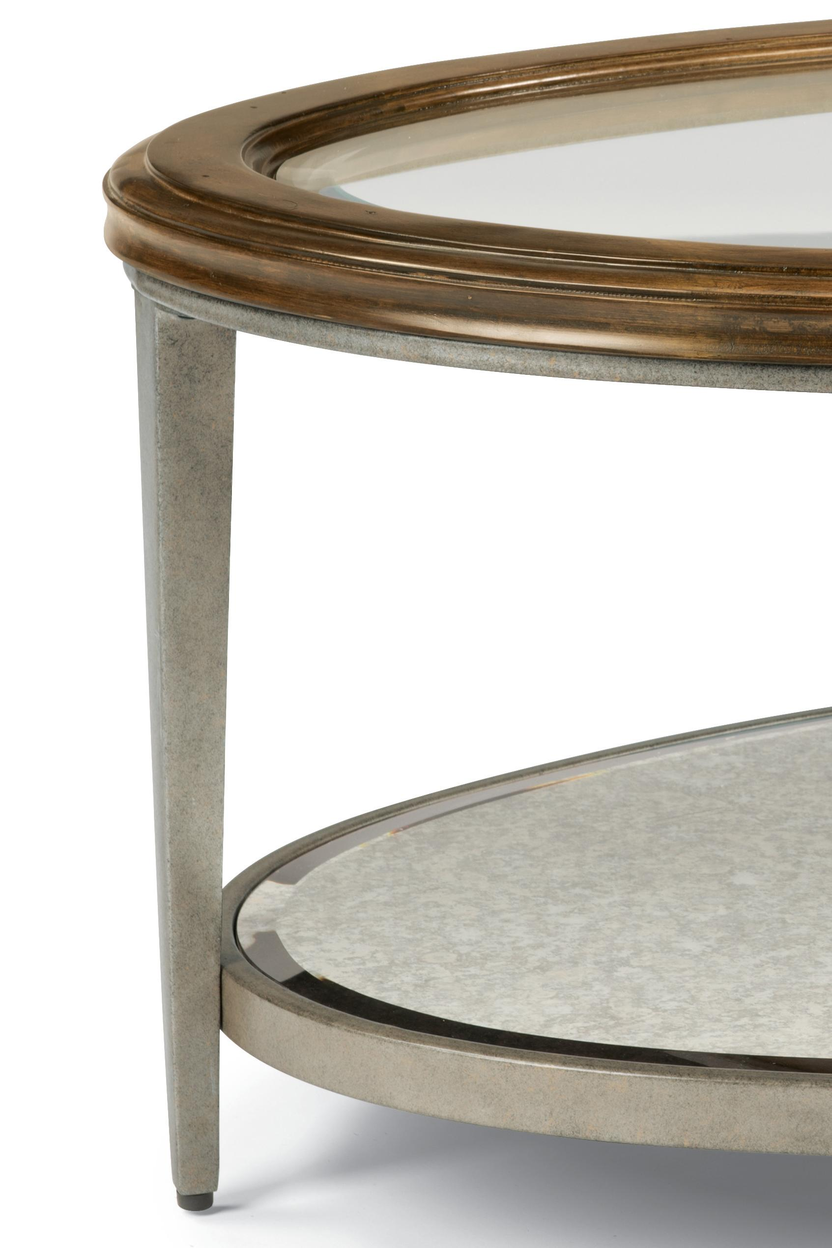 Flexsteel Patina Transitional Round Cocktail Table with Glass Top