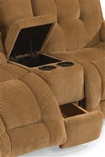 Console Loveseat Comes Equipped with Two Storage Compartments and Two Cupholders. Power Console Loveseat Includes Cupholder Lighting
