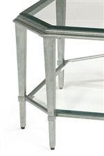Tall, Tapered Legs and Clear Glass Shelves