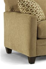 Track Arms & Exposed Wood Legs Bring a Contemporary Style to this Sofa.