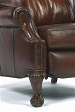 Padded Rolled Arm with Nailhead Trim, Cabriole Wood Leg and Paw Foot
