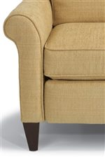 Push Back on the Rolled Arms of this High Leg Recliner to Recline the Back of the Chair.