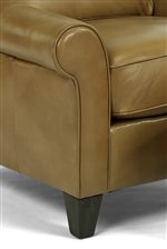 Rolled Arms and Plush Cushions Add a Comfortable Look and Feel to Bold Leathers.