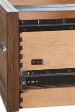 Side-mounted drawers with dovetail joinery