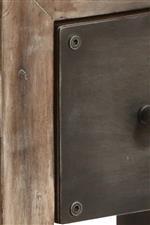 Industrial inspired exposed screw hardware