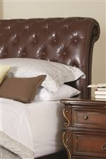 Leather Upholstered Sleigh Bed with Button Tufting