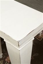Simple Table Top Corners with Distressed White Paint