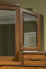 Wooden Tri-Fold Mirror with Beveled Glass and Arched Crown