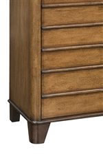 Tapered Wood Legs and Lined Drawer-Front Detail