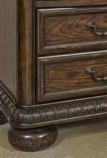 Framed Drawers and Round, Carved Bun Feet