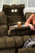Convenience Features in the Sectional Pieces Include Reading Lights, Tables, Cup-Holders and Storage Spaces