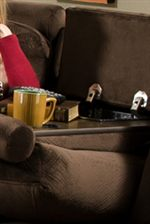 Down Down Back Cushions Create Instant Tray-Tables Perfect for Setting Beverages or Small Snacks