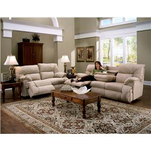 Franklin 6460 Casual Reclining Sofa with Fold Down Tray Table