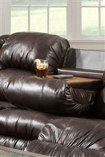 The Reclining Sofa center seat back folds down to reveal a tray with drink holders.