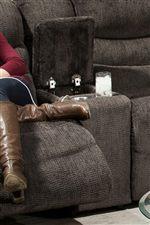 Built in Cup-Holders Offer Convenience to the Loveseat in this Collection