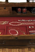 Jewelry Drawer Lined with a Rich Burgundy Velvet
