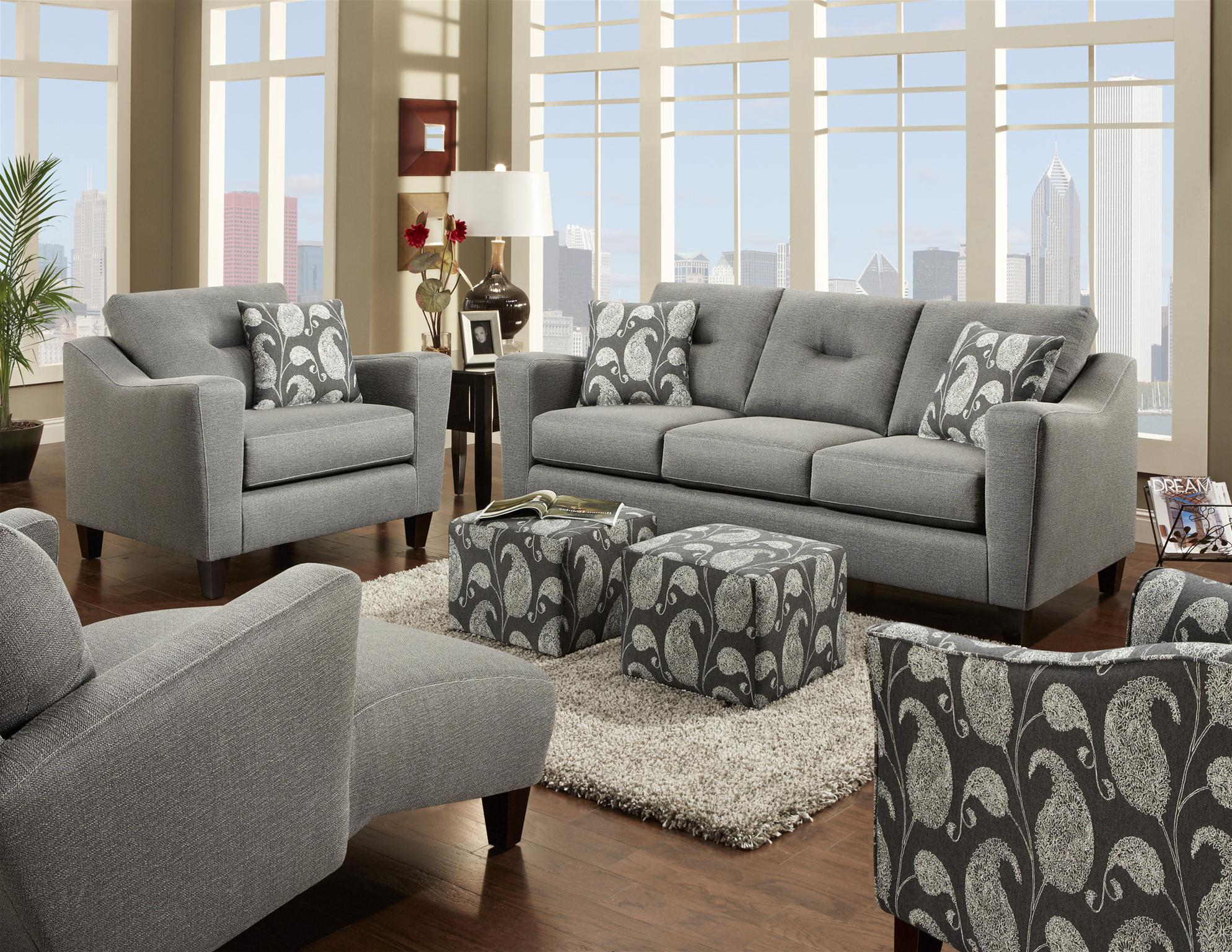 Fusion Furniture Bodie Stationary Living Room Group Crowley