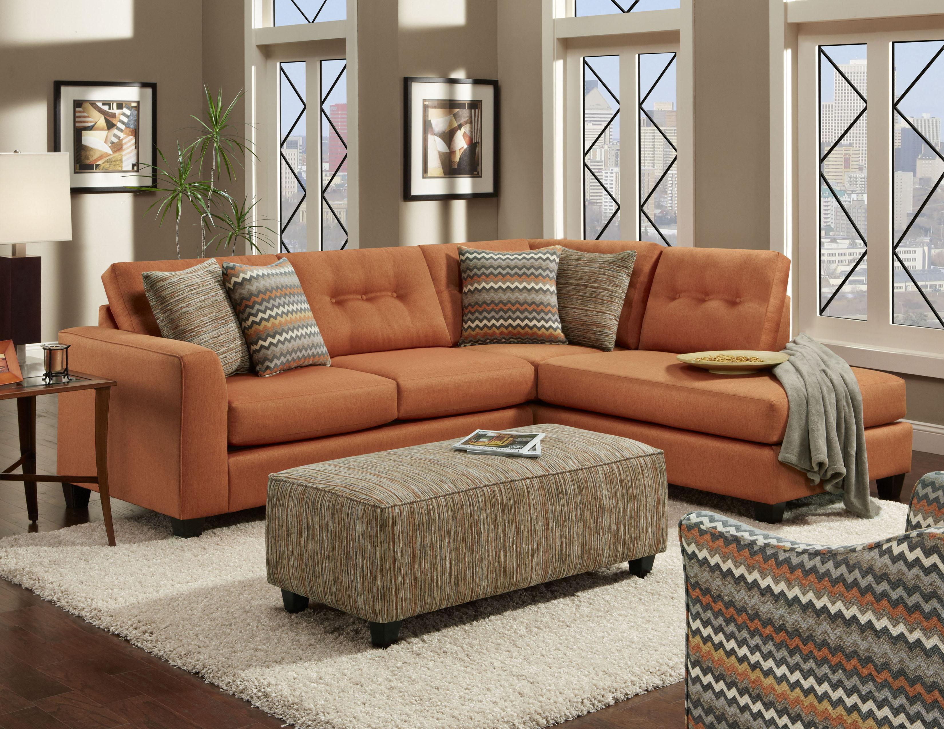 sofa curved small brick room with interior living red regard to sectional orange leather