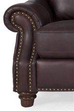 Padded, Rolled Armrests & Nailhead Trim