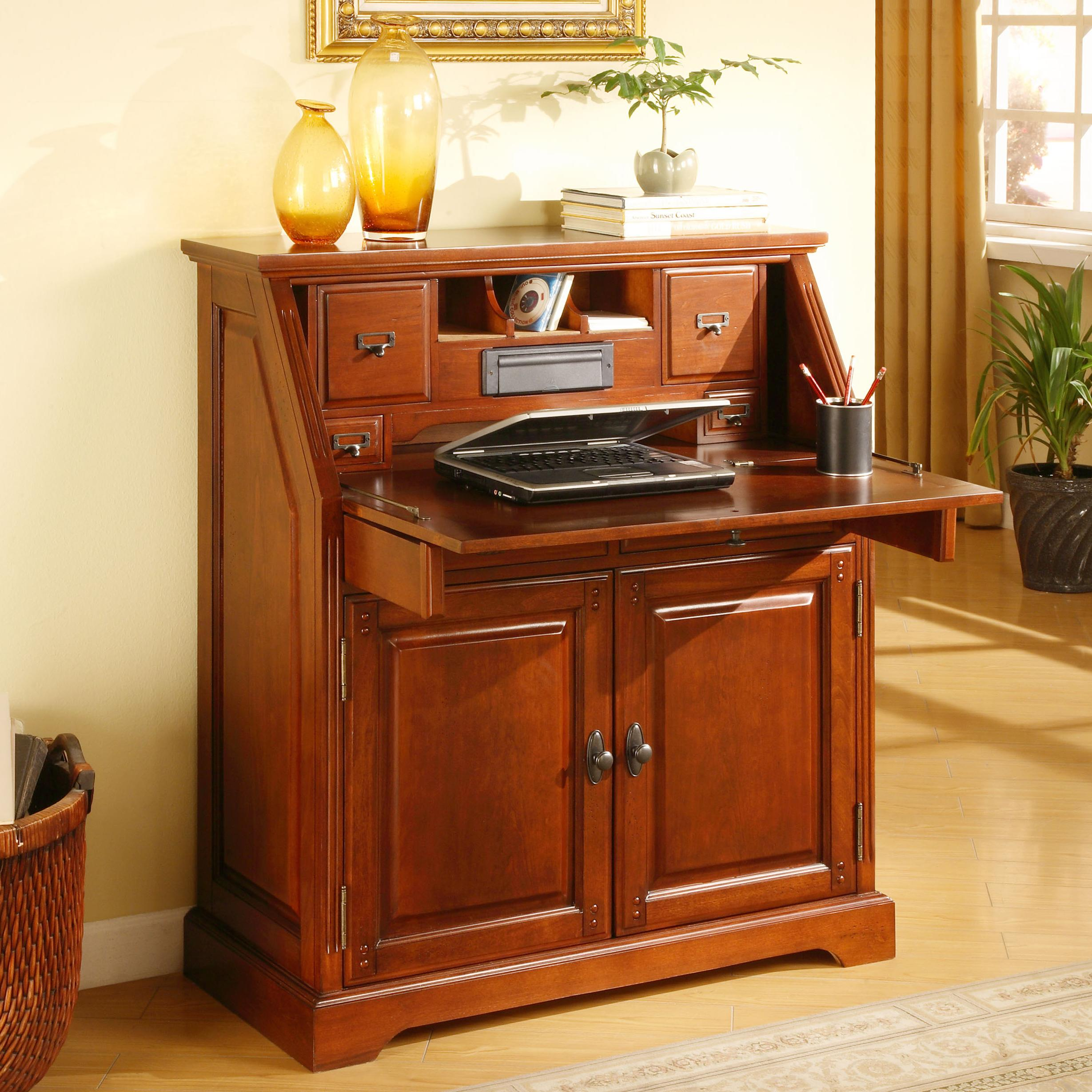Golden Oak By Whalen New Hampshire Cherry Drop Lid Laptop Desk With 2 Doors    BigFurnitureWebsite   Roll Top Desk