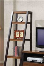 slightly widening bookshelves provide extra storage space and style to wall unit and desk