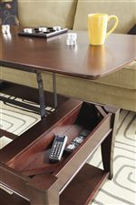 Handy Lift Top Function Provides Storage and Raised Table Access