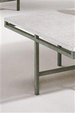 Warm Brushed Steel Base & Flush Mounted Travertine Veneer Tops.