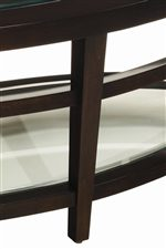 Tempered Glass Shelves with a Rich Brown Finished Frame