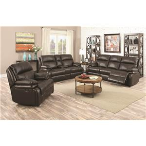 Happy Leather Company 1286 Power Reclining Sofa with Soft, Pillow Arms