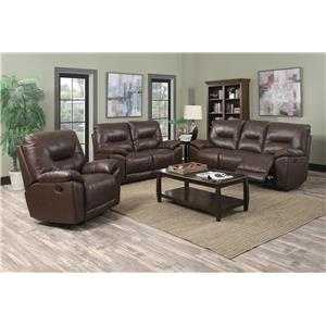 Happy Leather Company 5901 Casual Rocker Recliner with Padded Arms