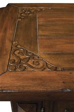 Decorative Corner Inlays on Table Surfaces